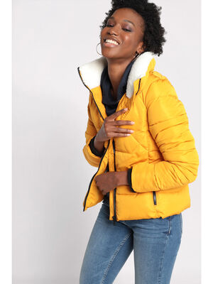 Doudoune droite col montant jaune moutarde femme