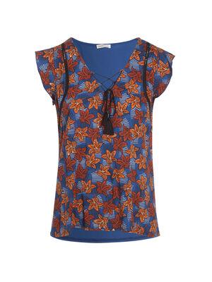 T shirt manches courtes noeud bleu femme