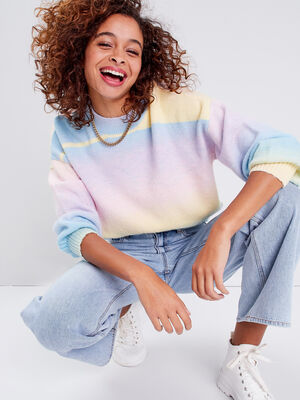 Pull manches longues multicolore femme