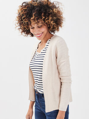 Cardigan manches longues sable femme