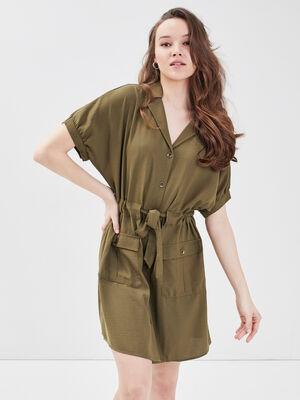 Robe droite boutonnee vert kaki femme
