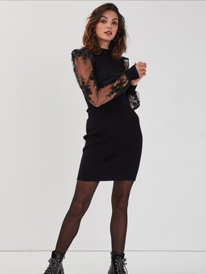 Robe pull ajustee col montant noir femme