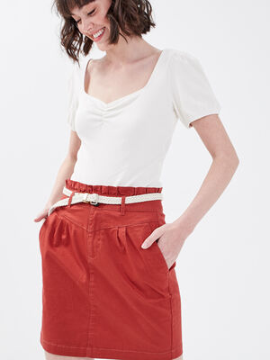 Jupe droite ceinturee orange fonce femme