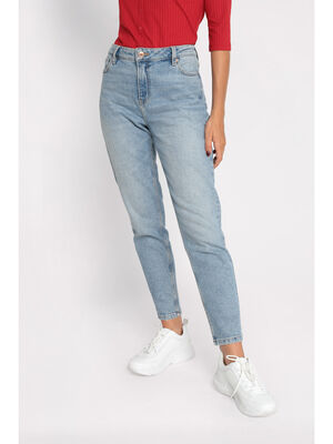 Jeans mom delave denim double stone femme