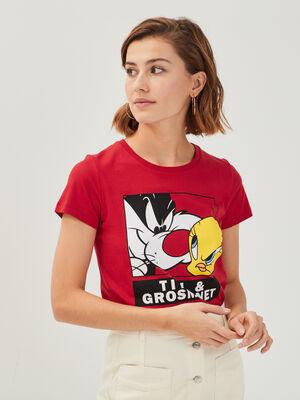 T shirt Titi et Grosminet rouge femme