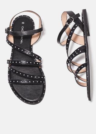 Sandales plates avec clous noir femme