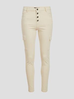 Jeans skinny boutonne ecru femme