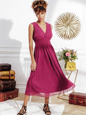 Robe longue evasee violet fonce femme