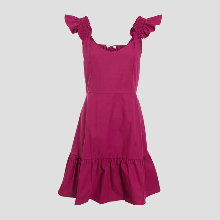 Robe évasée avec volants violet clair femme