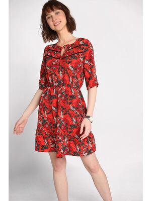 Robe courte evasee rouge femme