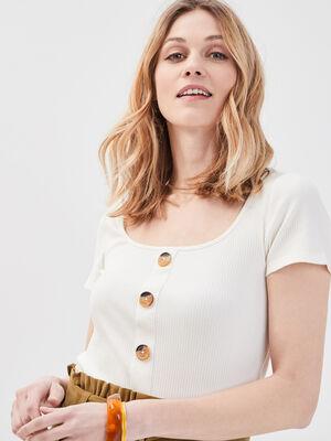 T shirt manches courtes cotele ecru femme