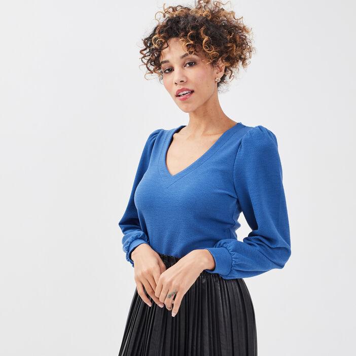 T-shirt manches longues bleu femme
