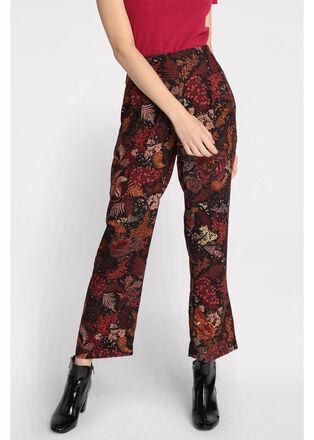 Pantalon droit effet satine noir femme