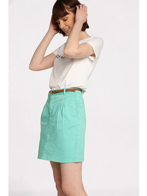 Jupe chino avec ceinture vert clair femme