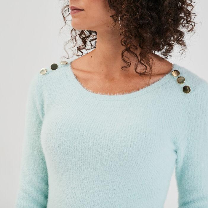 Pull avec boutons vert pastel femme