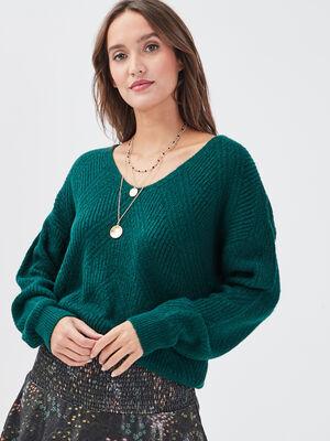 Pull ajoure avec col en V vert fonce femme