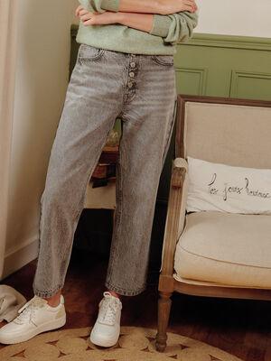 Jeans regular boutonne 78eme denim gris femme