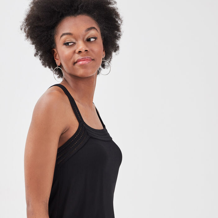 Débardeur bretelles larges noir femme