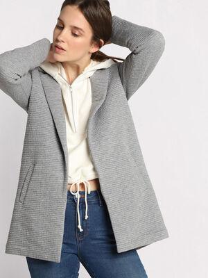 Manteau droit col crante gris clair femme