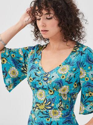 Blouse manches courtes bleu turquoise femme