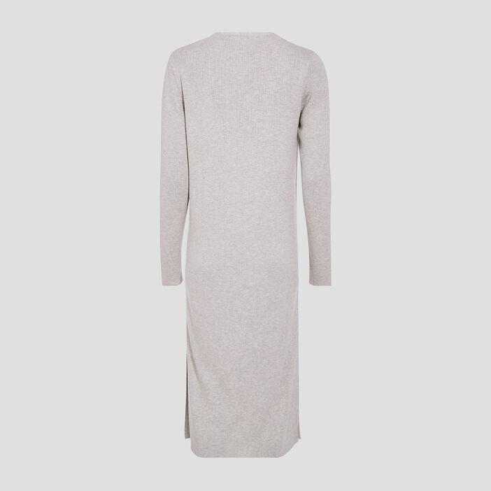 Gilet long boutonné gris clair femme