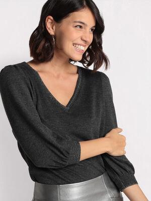 T shirt manches 34 gris fonce femme