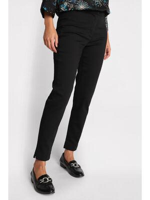 Pantalon slim taille haute noir femme