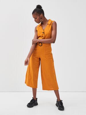 Combinaison pantalon lin jaune moutarde femme