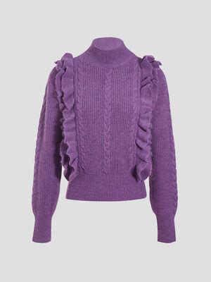 Pull avec volants violet fonce femme