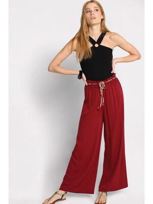 Pantalon fluide elastique bordeaux femme