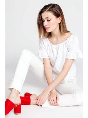 Blouse empiecement macrame blanc femme