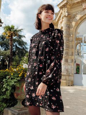 Robe droite details smockes noir femme