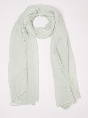 Foulard plisse vert clair femme