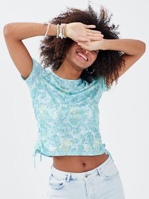 T shirt manches courtes bleu ciel femme