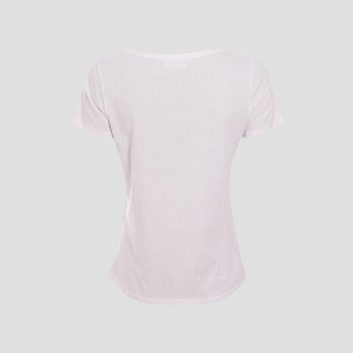 T-shirt ajusté à message blanc femme