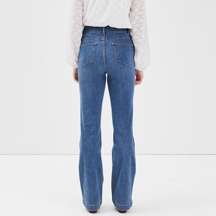 Jeans bootcut avec ornements denim brut femme