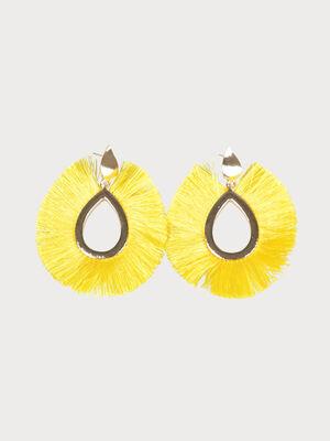 Boucles doreilles a pompon ovales jaune femme