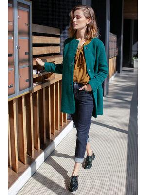 Manteau leger boutonne vert fonce femme