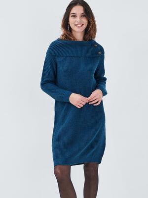 Robe pull droite col roule bleu petrole femme