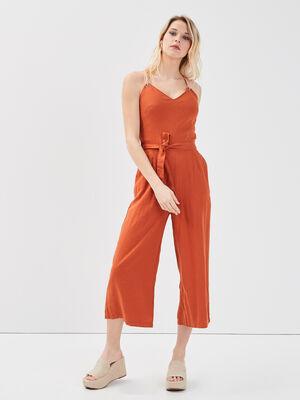 Combinaison pantalon lin marron femme