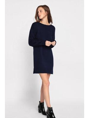 Robe pull droite col rond bleu marine femme