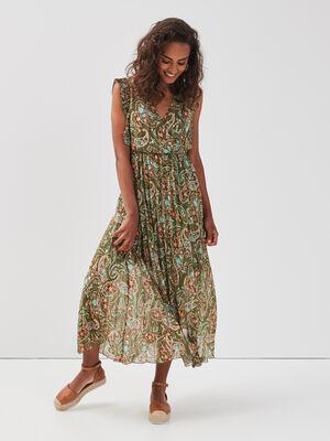 Robe longue evasee plissee vert fonce femme