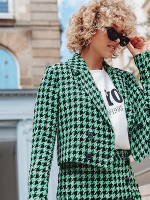 Veste droite avec boutons vert femme
