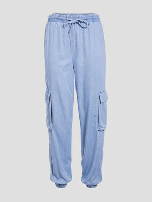 Pantalon jogging en jean denim bleach femme