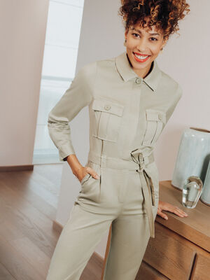 Combinaison pantalon ceinturee vert clair femme