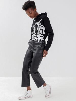 Pantalon regular avec boutons noir femme