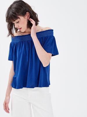 T shirt manches courtes bleu electrique femme