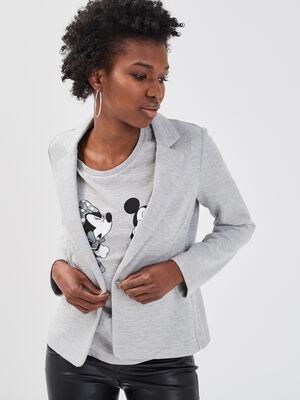 Veste blazer droite boutonne gris clair femme