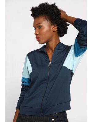 Veste jogging manches longues bleu marine femme
