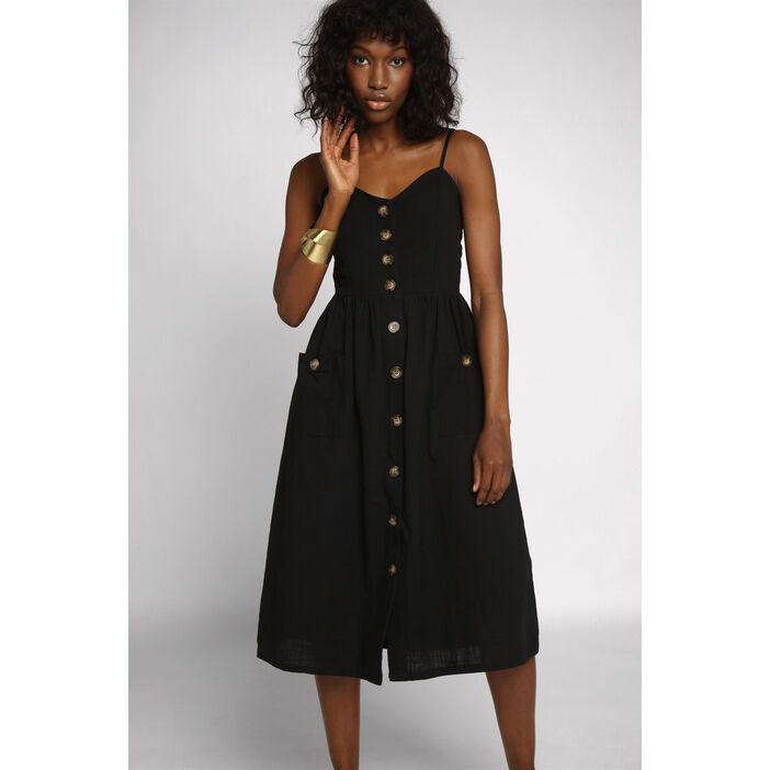 nouveaux styles 06483 2f66d Robe midi droite boutonnée noir femme   Vib's